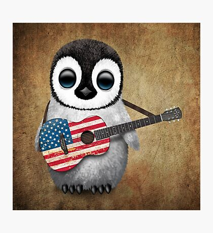 Baby Penguin Playing American Flag Guitar Photographic Print