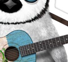 Baby Penguin Playing Guatemalan Flag Guitar Sticker