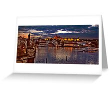 Prague Castle at Night. View 1 Greeting Card