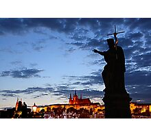 Prague Castle at Night. View 2 Photographic Print