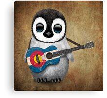 Baby Penguin Playing Colorado Flag Guitar Canvas Print
