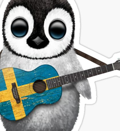Baby Penguin Playing Swedish Flag Guitar Sticker