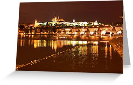Prague Castle at Night. View 4 by Anatoly Lerner
