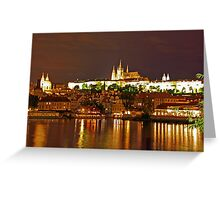 Prague Castle at Night. View 5 Greeting Card