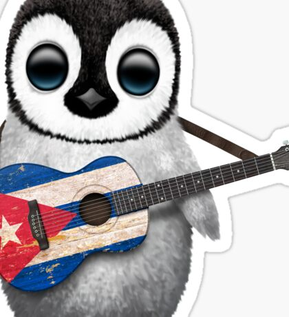 Baby Penguin Playing Cuban Flag Guitar Sticker