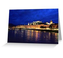 Salzburg at Night. View 2 Greeting Card