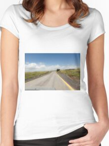 Straight road to vanishing point on the horizon with no traffic.  Women's Fitted Scoop T-Shirt
