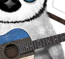 Baby Penguin Playing Estonian Flag Guitar Sticker