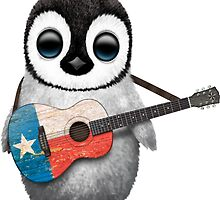 Baby Penguin Playing Texas Flag Guitar by Jeff Bartels