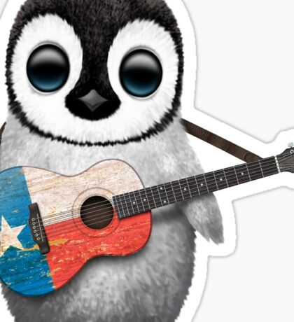Baby Penguin Playing Texas Flag Guitar Sticker