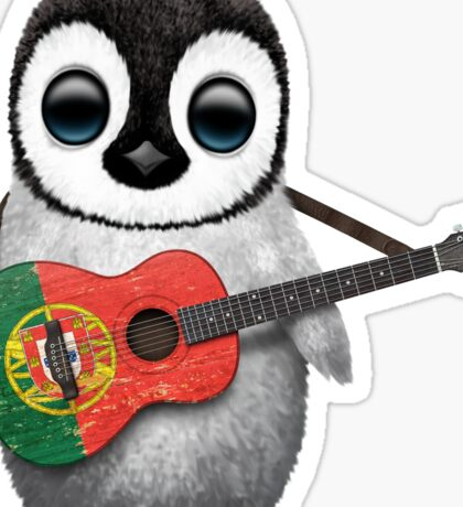 Baby Penguin Playing Portuguese Flag Guitar Sticker