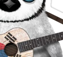 Baby Penguin Playing South Korean Flag Guitar Sticker