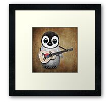 Baby Penguin Playing South Korean Flag Guitar Framed Print