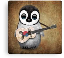 Baby Penguin Playing South Korean Flag Guitar Canvas Print
