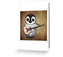 Baby Penguin Playing South Korean Flag Guitar Greeting Card