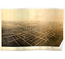 Panoramic Maps Birds eye view of the city of Jackson Michigan Poster