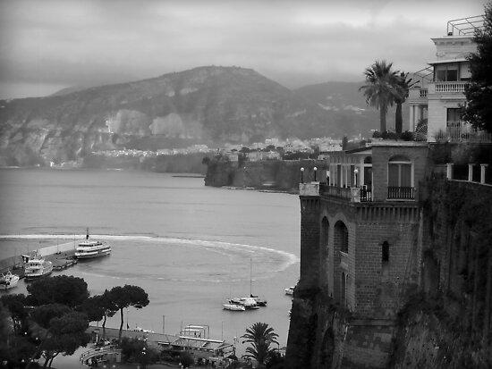 Mist on the Amalfi Coast Italy ~ Black/White by Lucinda Walter