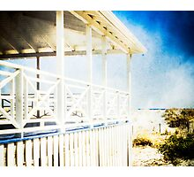 Blue and White House by the Sea Photographic Print