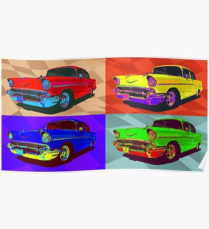 Chevy Bel Air 57, Pop Art style digital illustration. Poster