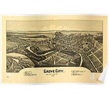 Panoramic Maps Grove City Mercer County Pennsylvania 1901 Poster