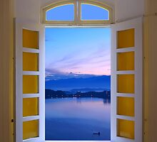 Window View of Dawn at the Sun Moon Lake by fotogenicdesign