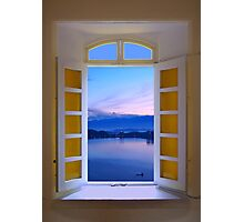 Window View of Dawn at the Sun Moon Lake Photographic Print