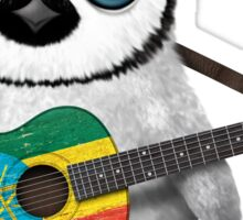 Baby Penguin Playing Ethiopian Flag Guitar Sticker