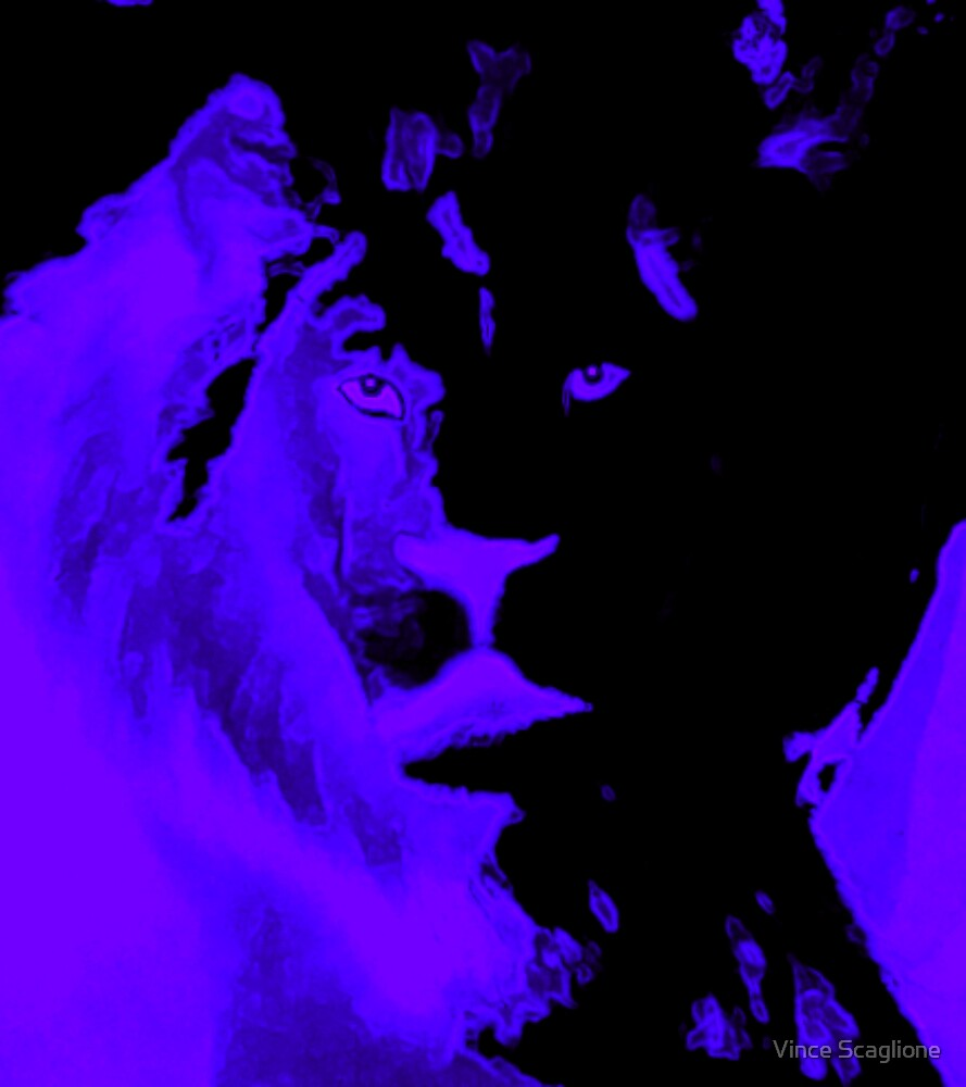 Blue Lion Abstract by Vince Scaglione