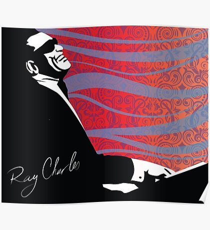 retro RAY CHARLES digital illustration  Poster
