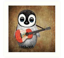 Baby Penguin Playing Peruvian Flag Guitar Art Print