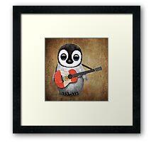 Baby Penguin Playing Peruvian Flag Guitar Framed Print