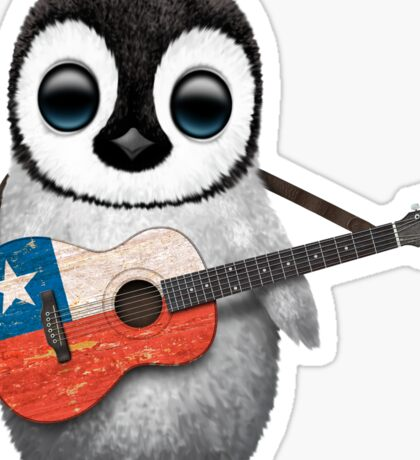 Baby Penguin Playing Chilean Flag Guitar Sticker
