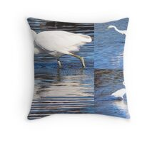 Collage of White Egrets in the Lake Throw Pillow