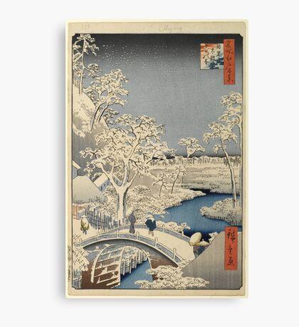 Japanese Print: Snow on Bridge Canvas Print