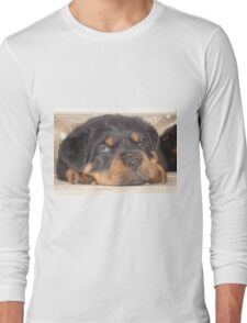 Adorable Rottweiler Puppy With Blue Eyes Long Sleeve T-Shirt