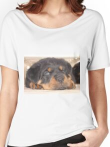 Adorable Rottweiler Puppy With Blue Eyes Women's Relaxed Fit T-Shirt