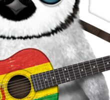 Baby Penguin Playing Bolivian Flag Guitar Sticker