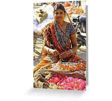 Flowers for the temple - Rajasthan, India Greeting Card