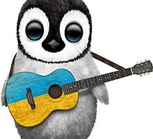 Baby Penguin Playing Ukrainian Flag Guitar by Jeff Bartels