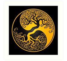 Yellow and Black Tree of Life Yin Yang Art Print