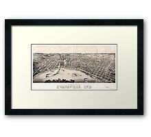 Panoramic Maps view of Evansville Ind 1880 Framed Print