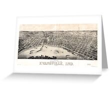 Panoramic Maps view of Evansville Ind 1880 Greeting Card