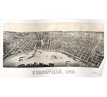 Panoramic Maps view of Evansville Ind 1880 Poster