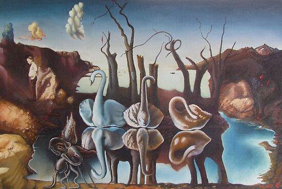 """ Dali. Swans reflected in elephants"" by Vsevolod | Redbubble"