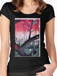 Japanese Print: Cherry Blossoms - Red Women's Fitted Scoop T-Shirt