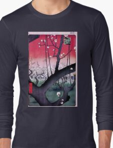 Japanese Print: Cherry Blossoms - Red Long Sleeve T-Shirt