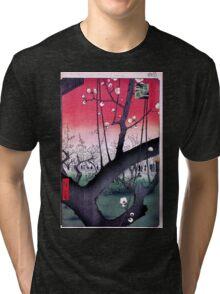 Japanese Print: Cherry Blossoms - Red Tri-blend T-Shirt
