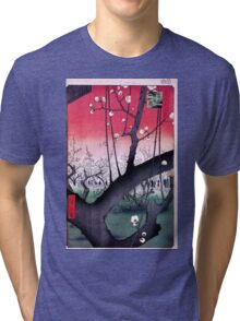 Japanese Print: Cherry Blossoms - Red Tri-blend T-Shirt