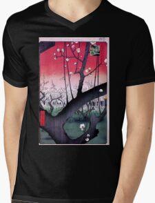 Japanese Print: Cherry Blossoms - Red Mens V-Neck T-Shirt