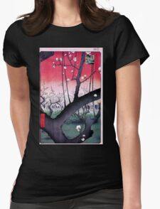 Japanese Print: Cherry Blossoms - Red Womens Fitted T-Shirt